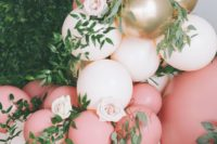 blush, pink and gold balloons, blush blooms and greenery are nice for spring bridal showers