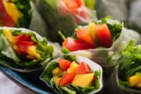 mango spring rolls with avocado-cilantro dipping sauce are perfect for spring and summer weddings