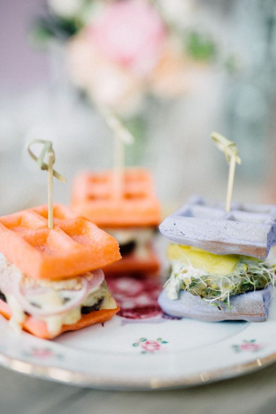 pastel waffle sandwiches with fresh veggie and cream cheese salad are adorable for spring or summer weddings