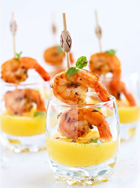 shrimp skewers with mango shooters are ideal for a tropical or beach wedding in any season