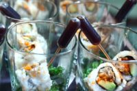 sushi with soy sauce pipettes is a creative serving idea for a couple who loves seafood