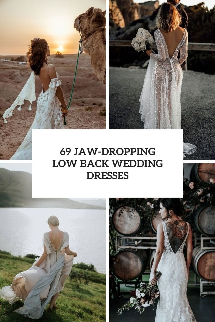 jaw dropping low back wedding dresses cover