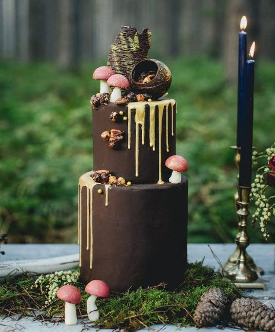 a chocolate wedding cake with creamy drip, sugar mushrooms, nuts and chocolate sphere decor on top