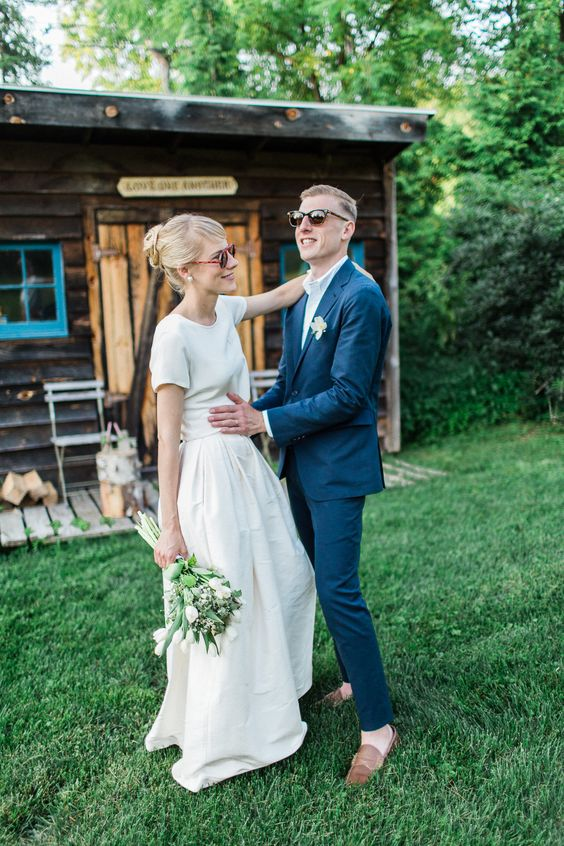 a modern wedding separate with a plain top with short sleeves and a full skirt for a backyard bride