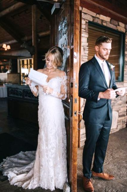 a super romantic and girlish lace off the shoulder wedding dress with long sleeves and a train