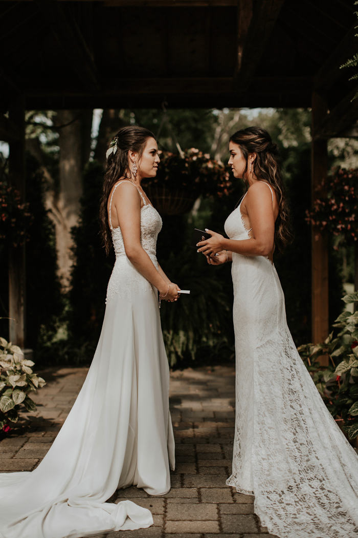 beautiful fitting wedding dresses, one with a lace bodice on spaghetti straps and a plain skirt, the second fully of lace with a train