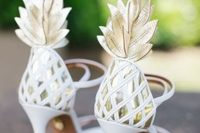 fantastic gold and white pineapple -inspired wedding shoes are a gorgeous idea for a glam tropical bride