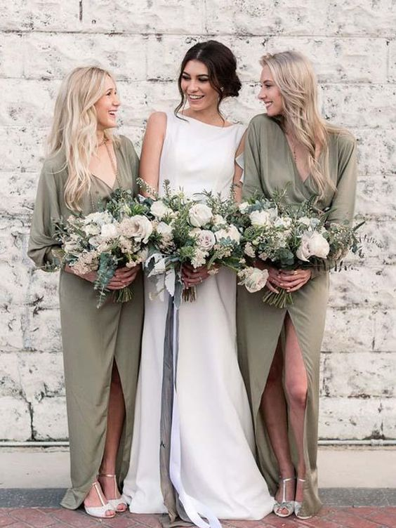 matching long sleeve sage green wrap bridesmaid dresses and a plain modern wedding dress for the bride
