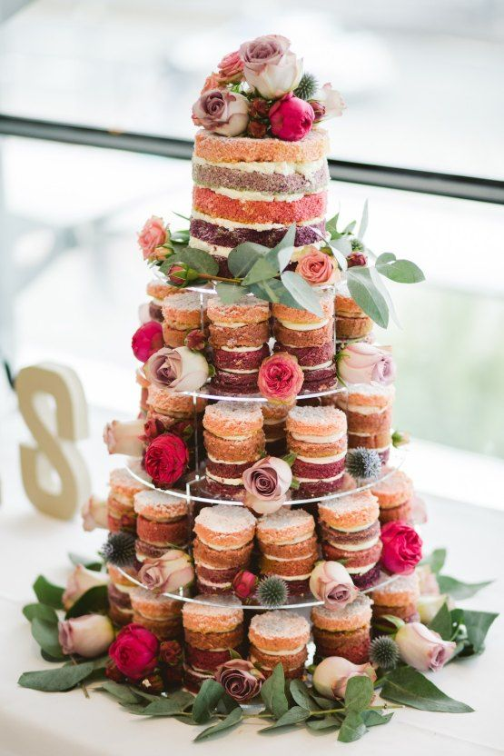 ombre naked individual wedding cakes and a larger one for letting your guests enjoy the tastes