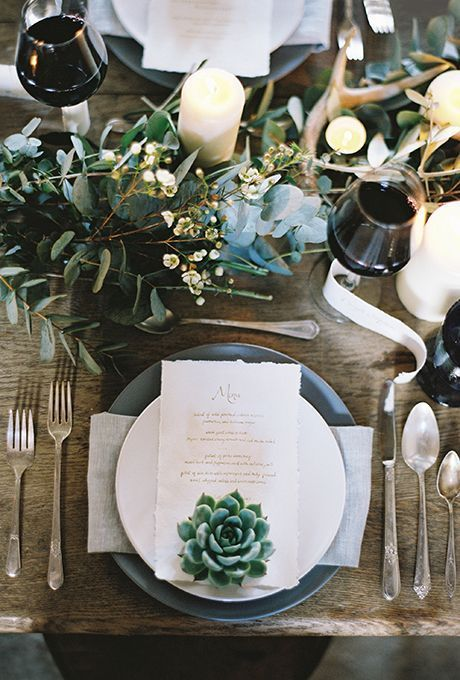 white porcelain, grey chargers, greenery and neutral blooms and succulents for decorating
