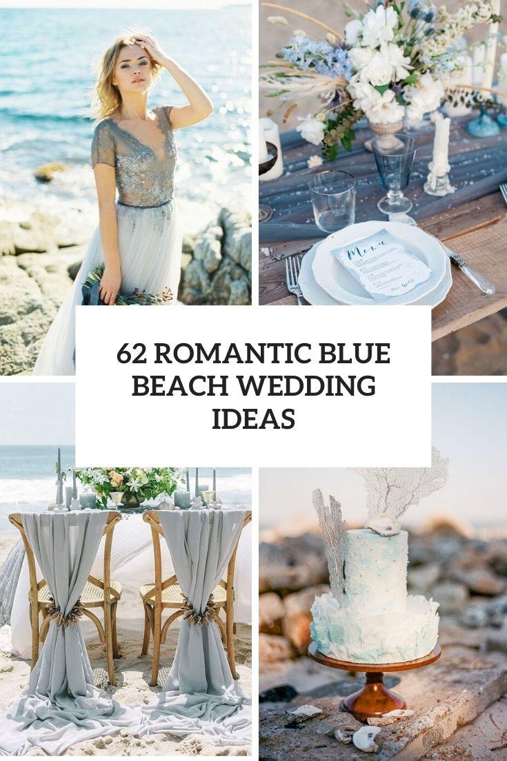 romantic blue beach wedding ideas cover