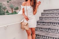 a mini lace off the shoulder dress with buttons, white platform shoes and a blush bag for a summer party