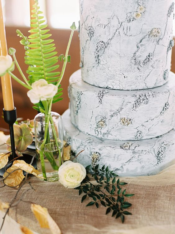 a textural bark-imitating wedding cake for a woodland or camp wedding is a cool solution