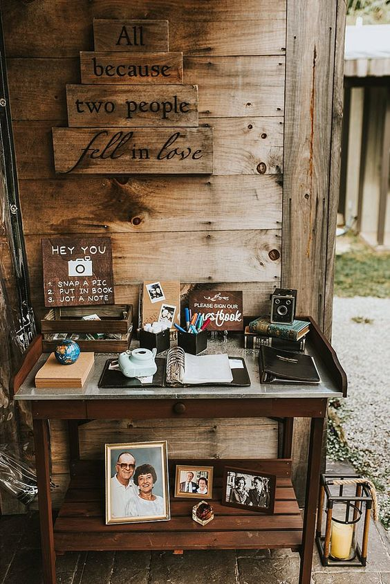a wedding guest book station in rustic style will fit a rustic, a woodland or a mountain wedding