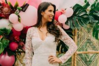 a white lace mini dress with long sleeves and a V-neckline is timeless classics for a bridal shower