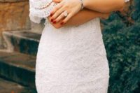 a white lace off the shoulder knee dress will be a base for a chic and sexy outfit