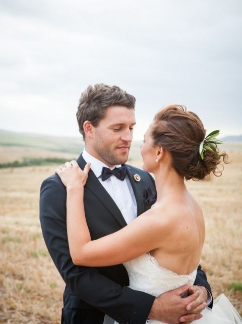 accent your wedding hair with olive greenery to make it simple and romantic and refreshed