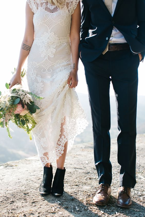 chic black suede booties for comfrotable walking to the ceremony space