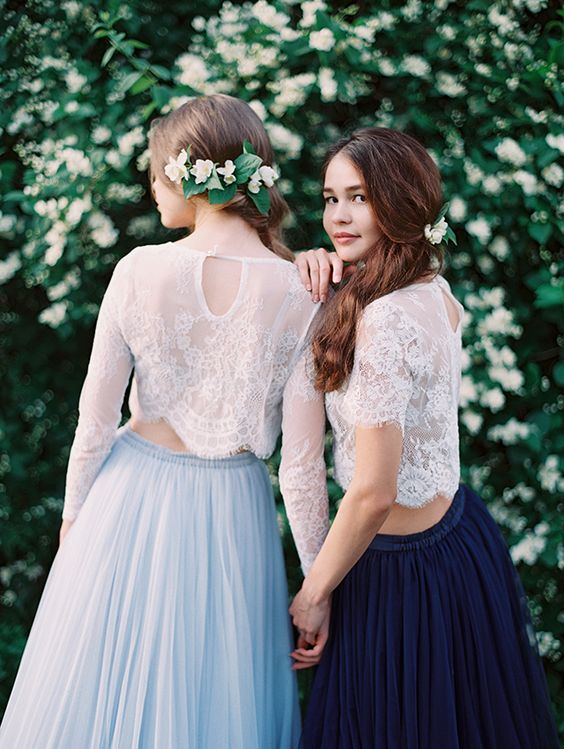 delicate white lace top tops with long or short sleeves and blue and navy tulle A line skirts