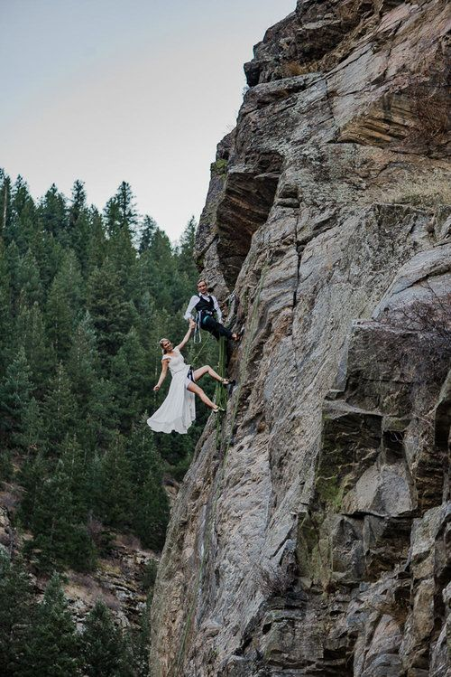 if you two love climbing, your wedding pics can look like that, too
