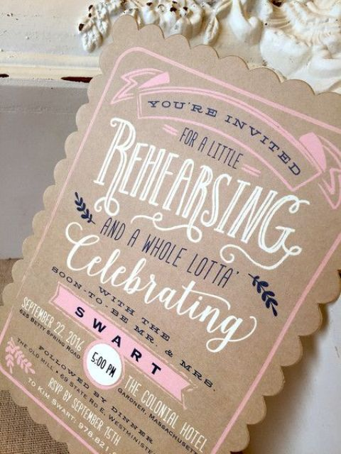 a cardboard rehearsal dinner invitation with pink, black and white, with crazy printing and patterns for a rustic reahearsal