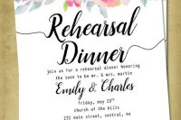 a colorful watercolor floral rehearsal dinner invitation with black calligraphy for a summer rehearsal