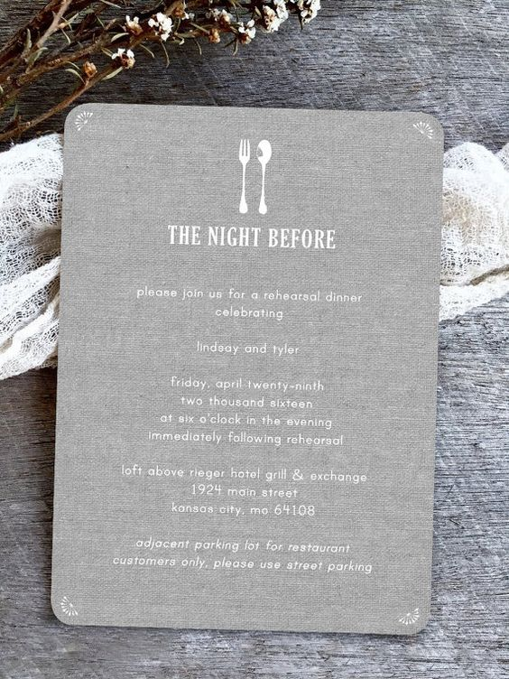 a cool burlap printing rehearsal dinner invitation with white printing is a stylish idea for a rustic rehearsal