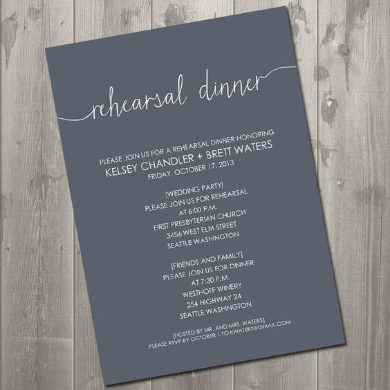 a modern rehearsal dinner invitation in graphite grey and white, with a bit of calligraphy is super cool