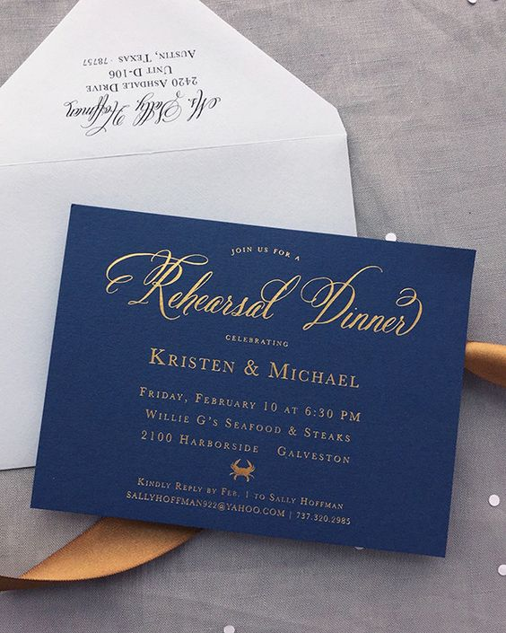 a navy and gold foil rehearsal dinner invitation for a nautical wedding rehearsal is amazing