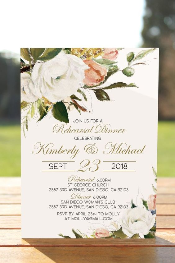 a romantic rehearsal dinner invite with floral detailing and gold calligraphy is a chic idea for a summer or spring rehearsal