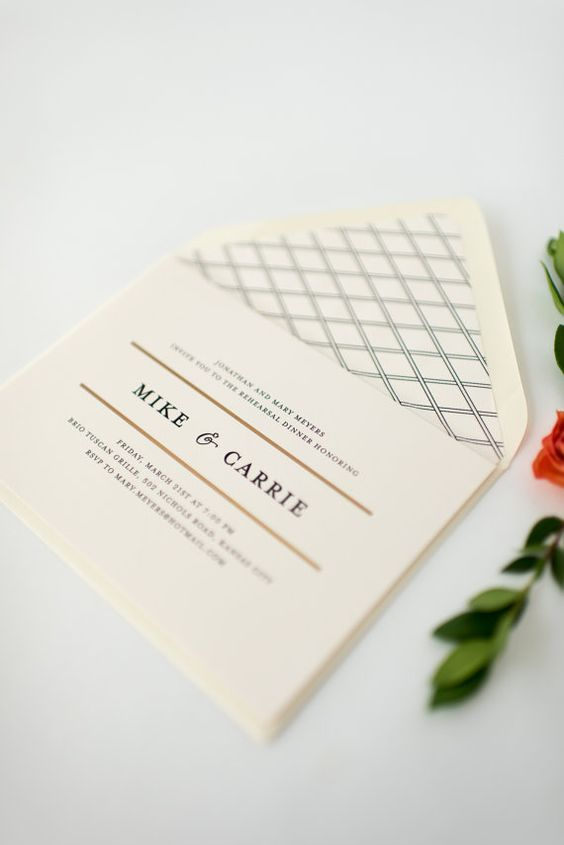 a simple and elegant neutral rehearsal dinner invitaiton with a bit of gold, printing on lining and cool lettering