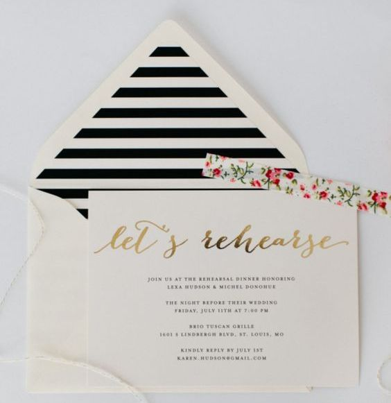 a stylish and a bit glam rehearsal dinner invitation in black and white, with an invite with gold foil calligraphy