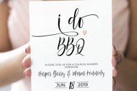 a stylish and glam BBQ rehearsal invitation in black and white, with calligraphy and a pink heart