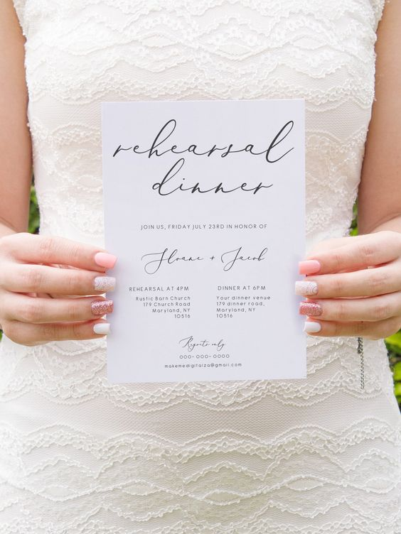 a stylish and simple rehearsal dinner invitation in black and white and with calligraphy is a timeless solution