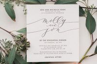 an ethereal and elegant neutral rehearsal dinner invitation with calligraphy and simple printing is wow