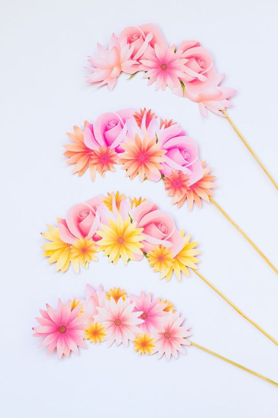 beautiful bright floral props for a summer wedding or a summer bridal shower - great as floral crowns