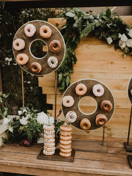 fun round wedding donut stands and vertical holders are ideal for a modern wedding, rock as many as you need