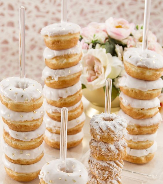 glazed donut stands are a chic and bold idea for a modern tea party bridal shower