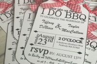 jar-shaped black and white rehearsal dinner invitations with red plaid ribbons are perfect for rustic and BBQ rehearsals