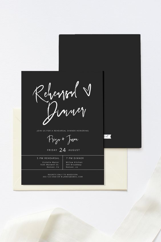 laconic and chic matte black and white rehearsal dinner invitation is a lovely and cool idea for a modern rehearsal