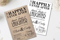 neutral and white cardboard rehearsal dinner invitations with cool letters are nice for many rehearsal themes