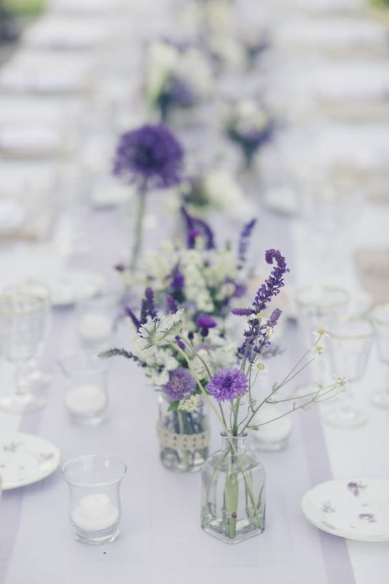simple wildflower centerpieces for a wedding or a rehearsal dinner
