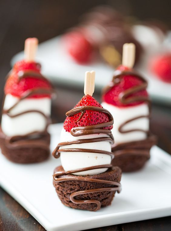 strawberry and brownie kabobs with chocolate sauce and marshmallows