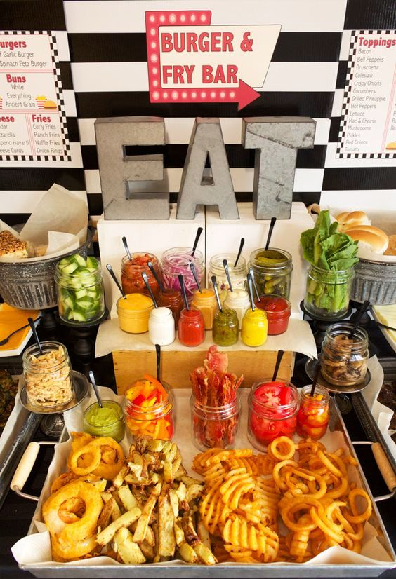 a burger and fry bar for your wedding is designed in a homey and simple way