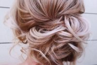 a messy low side bun with some curls down is a great idea to look chic and it will last long