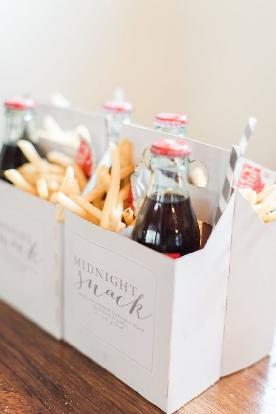 a midnight snack box - French fries and Coke bottles are a great option