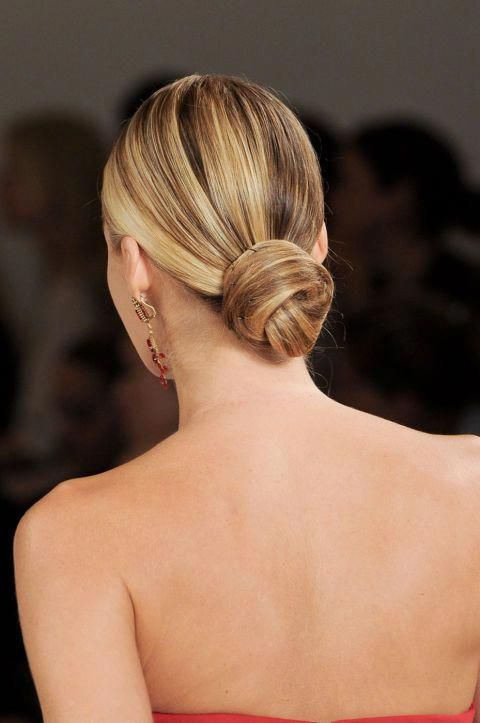 a super sleek low bun is classics that will work for most of styles but especially for minimalist