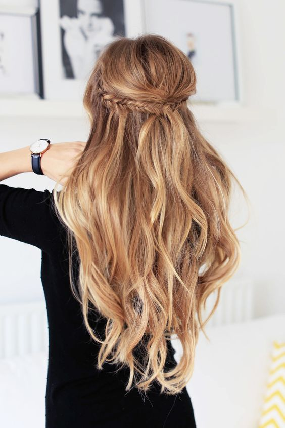 long wavy hair with a fishtail braided halo is all you need for a casual and simple look