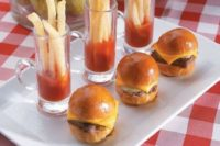 mini burgers, French fries with tomato sauce is classics for fast food fans