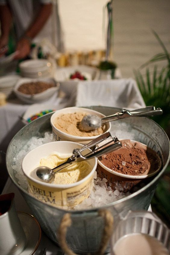 offer ice cream as bbq rehearsal dinner desserts - no need for a cake, just something delicious and refreshing